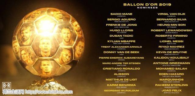 2019年金球奖30人候选名单出炉 荷兰、利物浦成大赢家