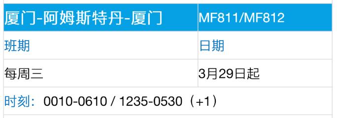 新冠疫情期间,中国内地航空公司飞荷兰航班的最新时刻表